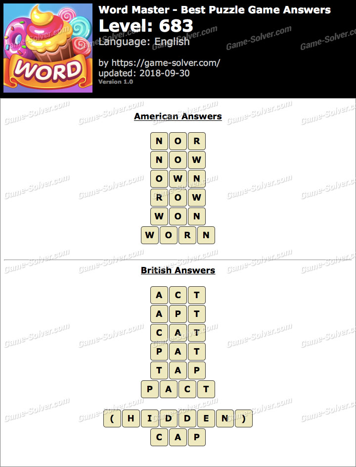 Word Master-Best Puzzle Game Level 683 Answers