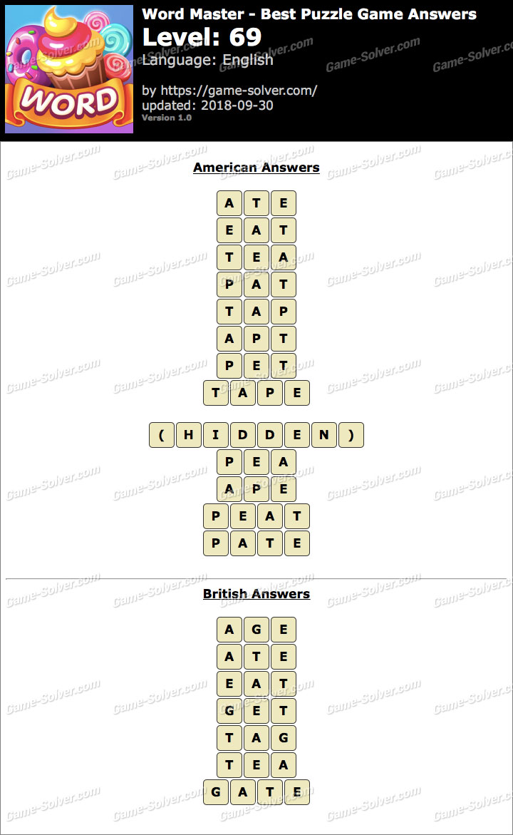 Word Master-Best Puzzle Game Level 69 Answers