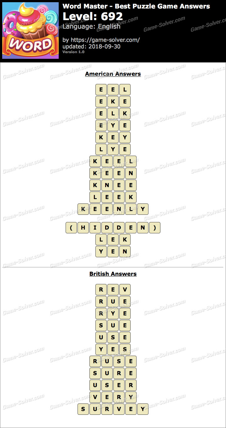 Word Master-Best Puzzle Game Level 692 Answers