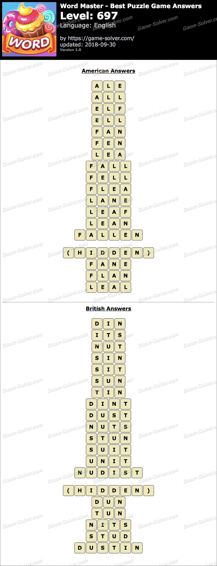 Word Master-Best Puzzle Game Level 697 Answers