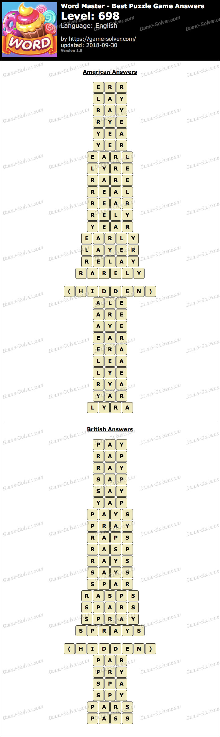 Word Master-Best Puzzle Game Level 698 Answers