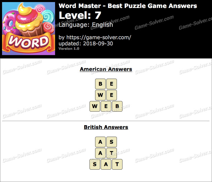 Word Master-Best Puzzle Game Level 7 Answers