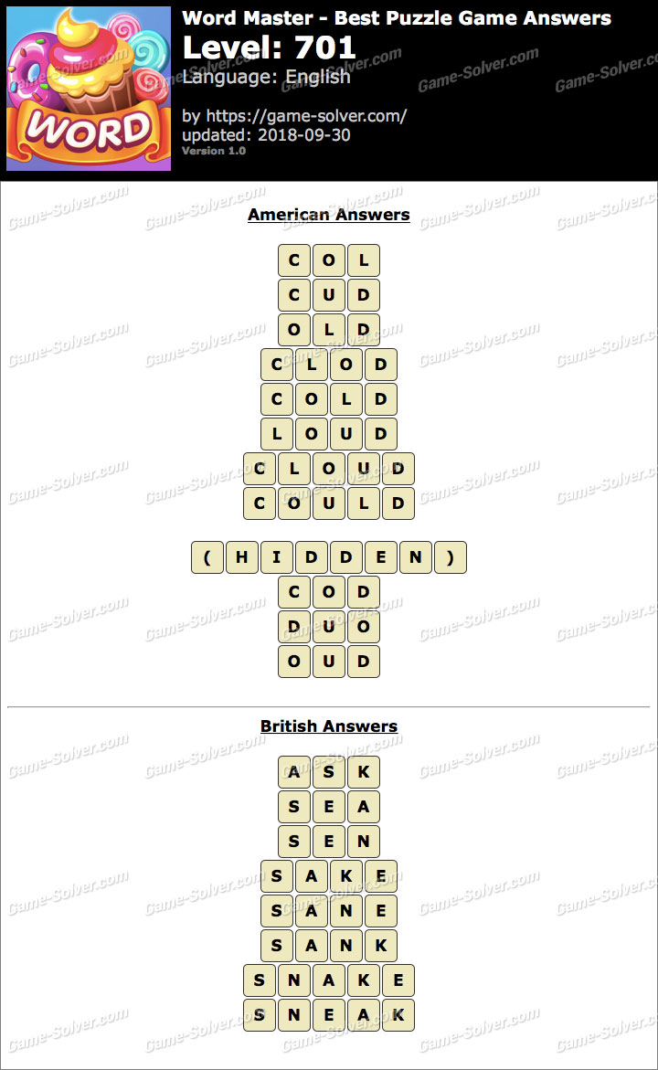 Word Master-Best Puzzle Game Level 701 Answers