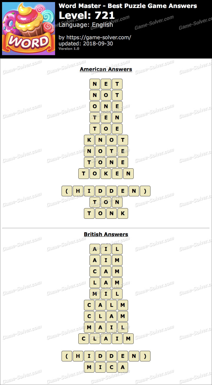 Word Master-Best Puzzle Game Level 721 Answers