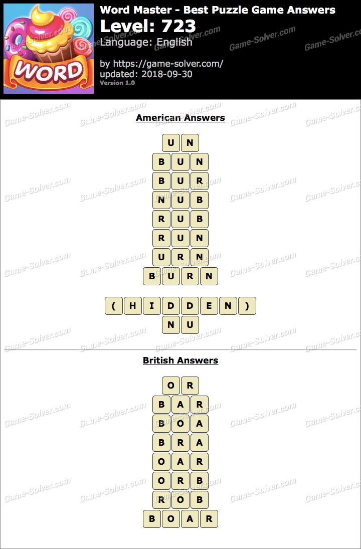 Word Master-Best Puzzle Game Level 723 Answers