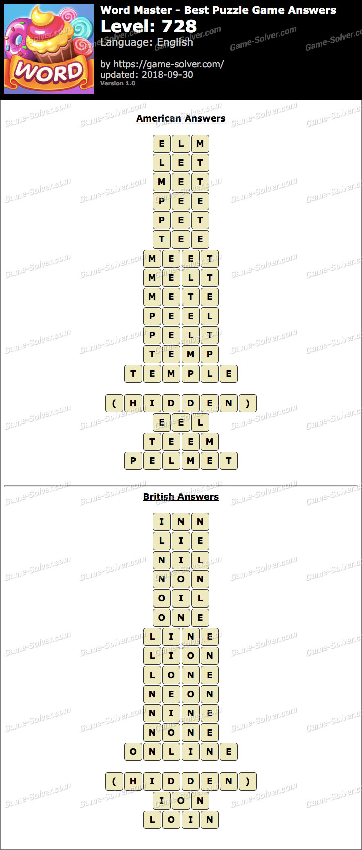 Word Master-Best Puzzle Game Level 728 Answers