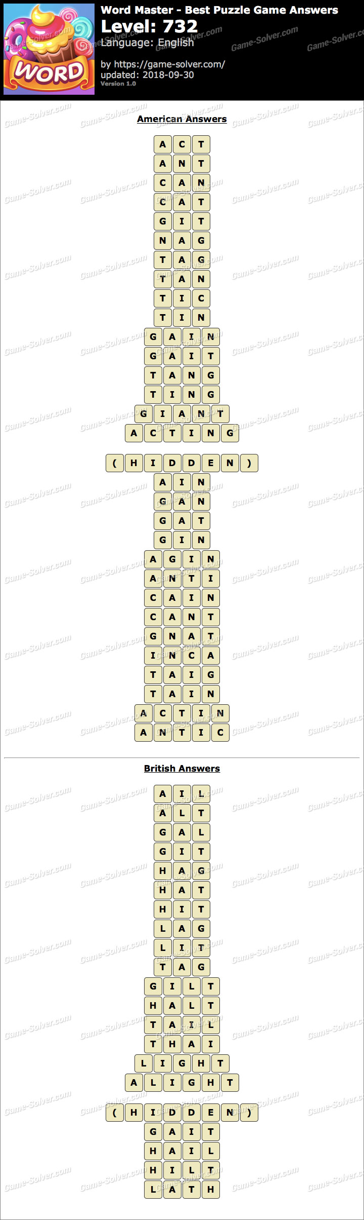 Word Master-Best Puzzle Game Level 732 Answers
