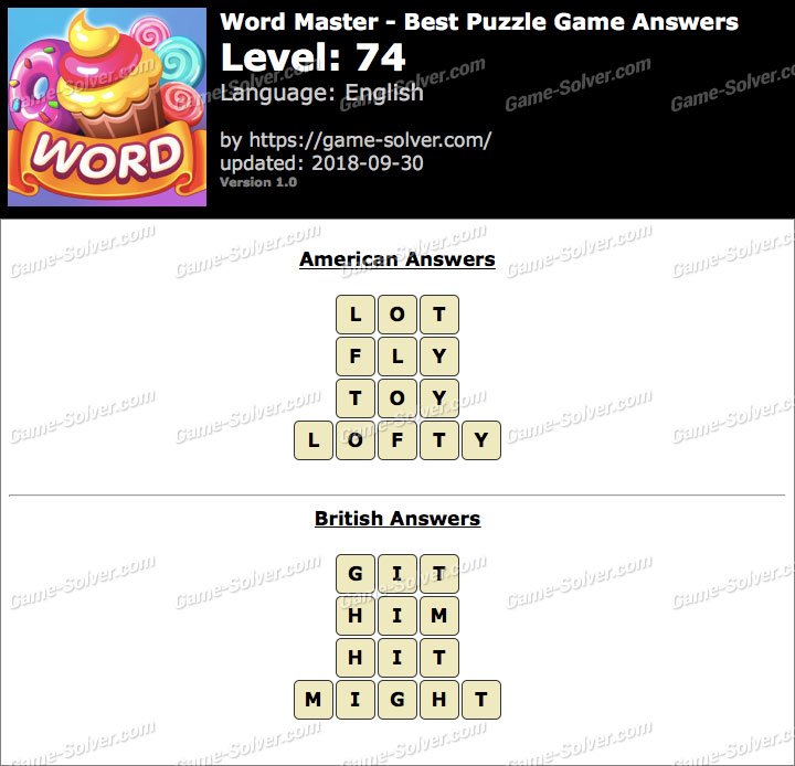Word Master-Best Puzzle Game Level 74 Answers