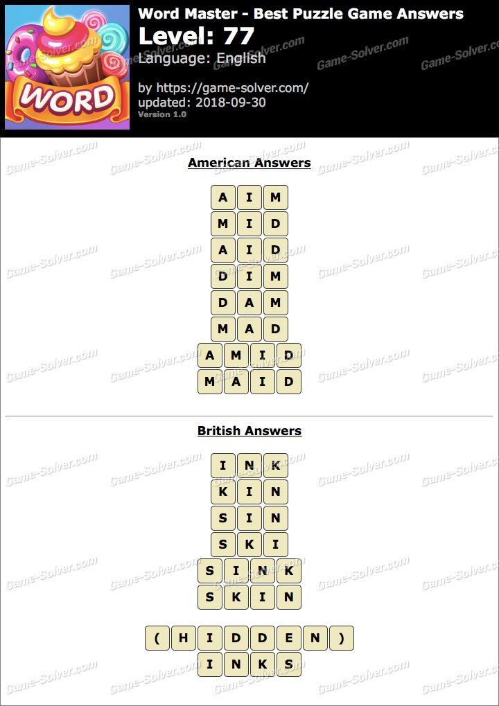 Word Master-Best Puzzle Game Level 77 Answers