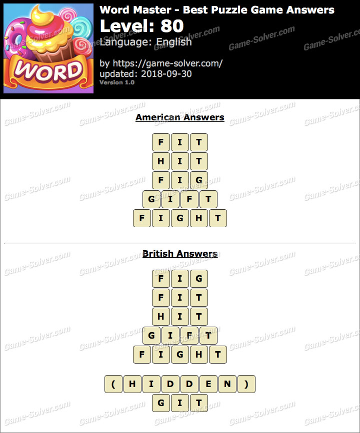 Word Master-Best Puzzle Game Level 80 Answers