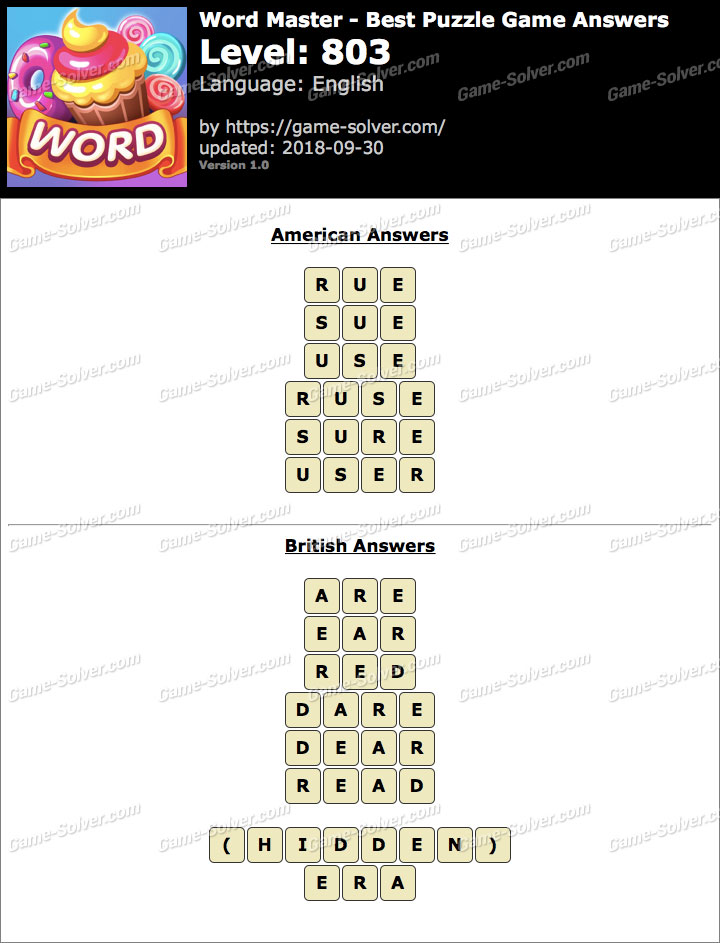 Word Master-Best Puzzle Game Level 803 Answers