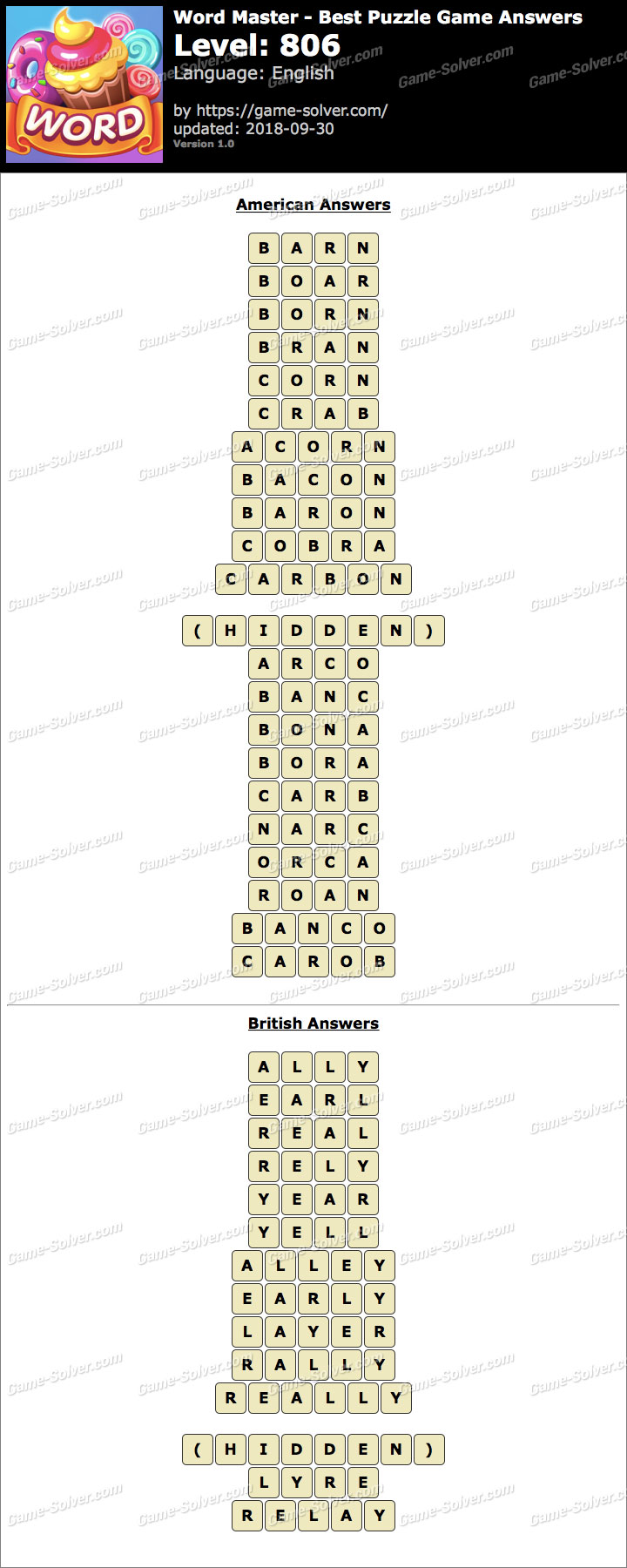 Word Master-Best Puzzle Game Level 806 Answers
