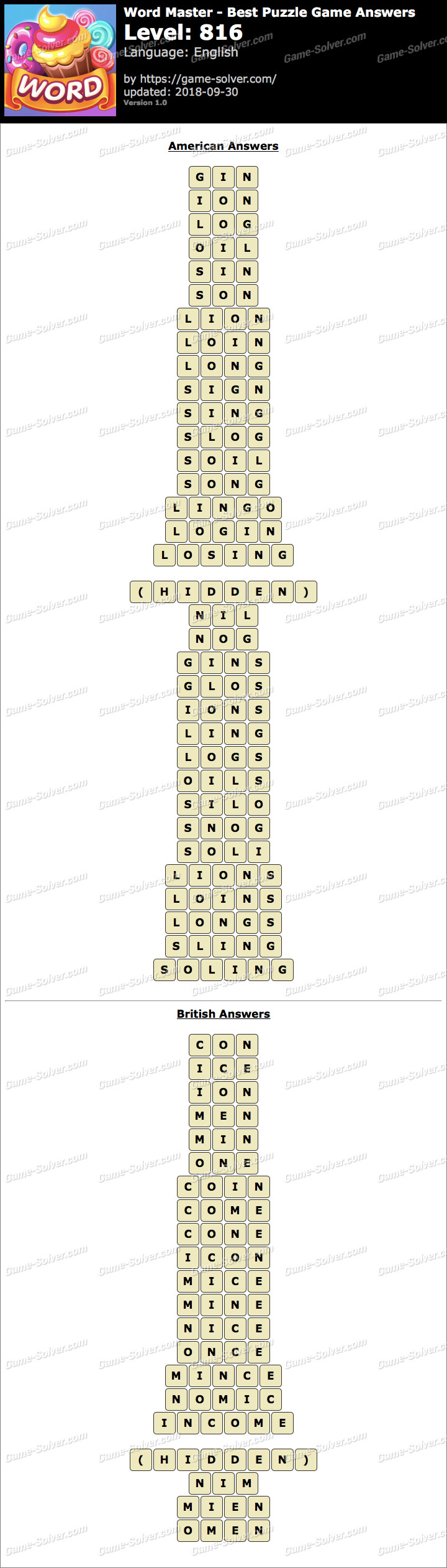 Word Master-Best Puzzle Game Level 816 Answers