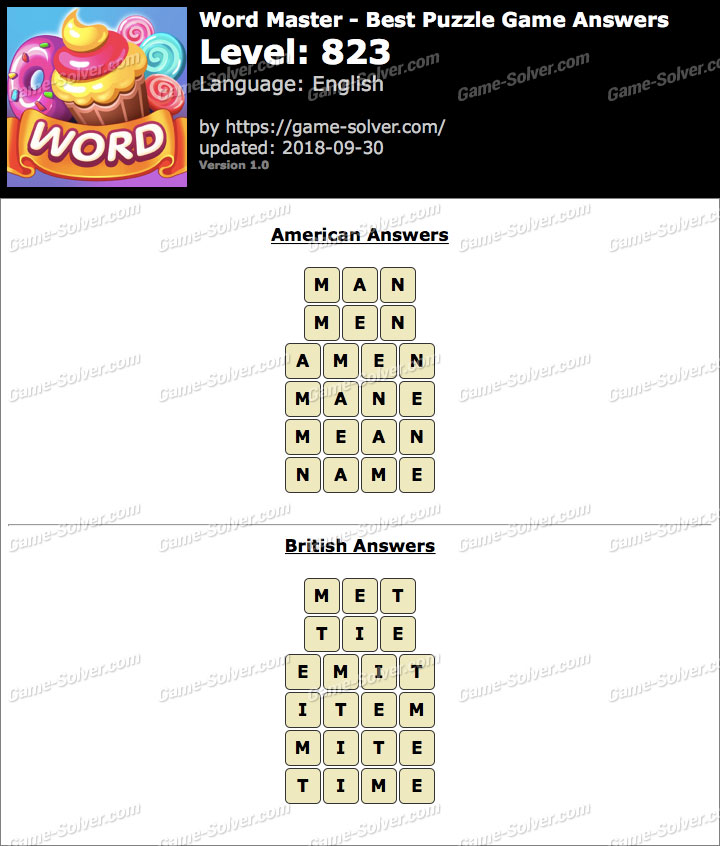 Word Master-Best Puzzle Game Level 823 Answers
