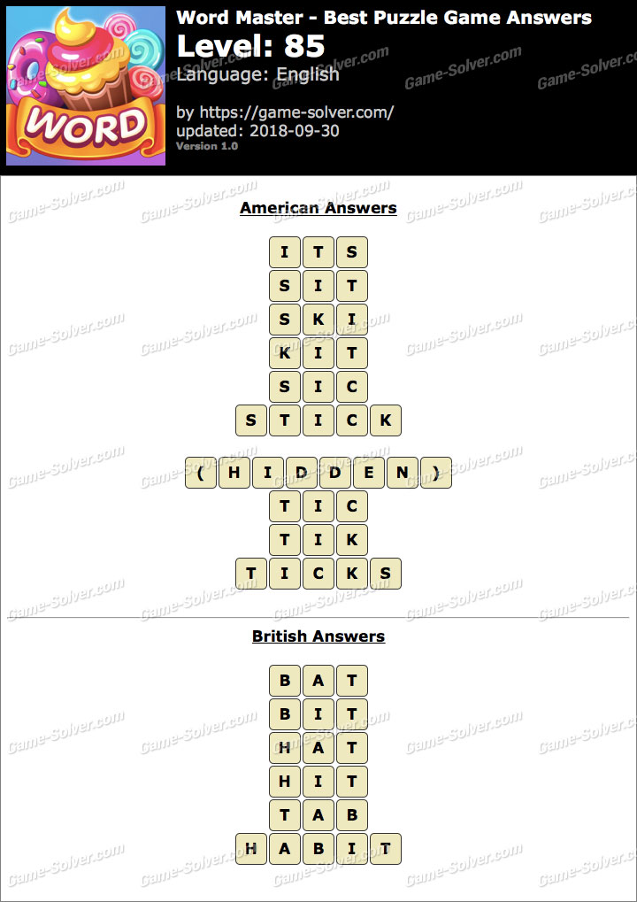 Word Master-Best Puzzle Game Level 85 Answers