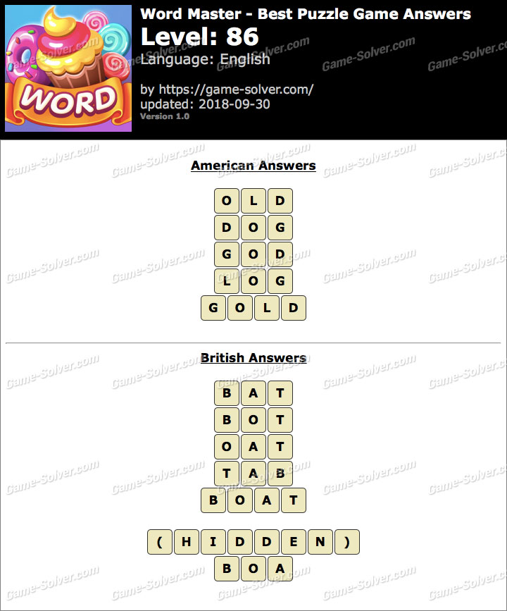 Word Master-Best Puzzle Game Level 86 Answers