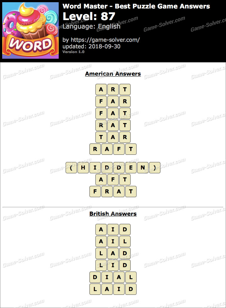 Word Master-Best Puzzle Game Level 87 Answers