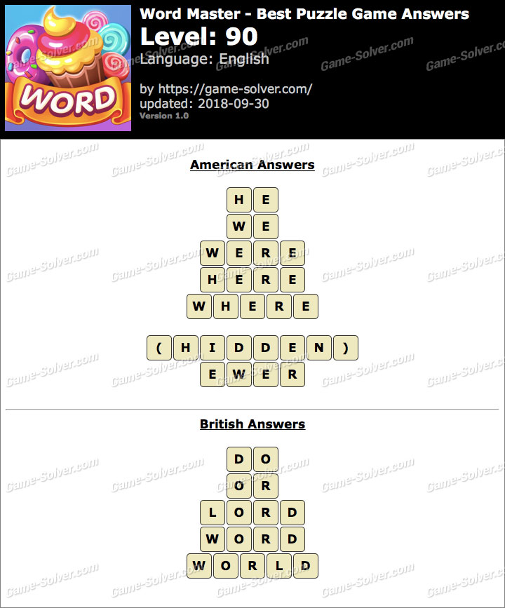 Word Master-Best Puzzle Game Level 90 Answers