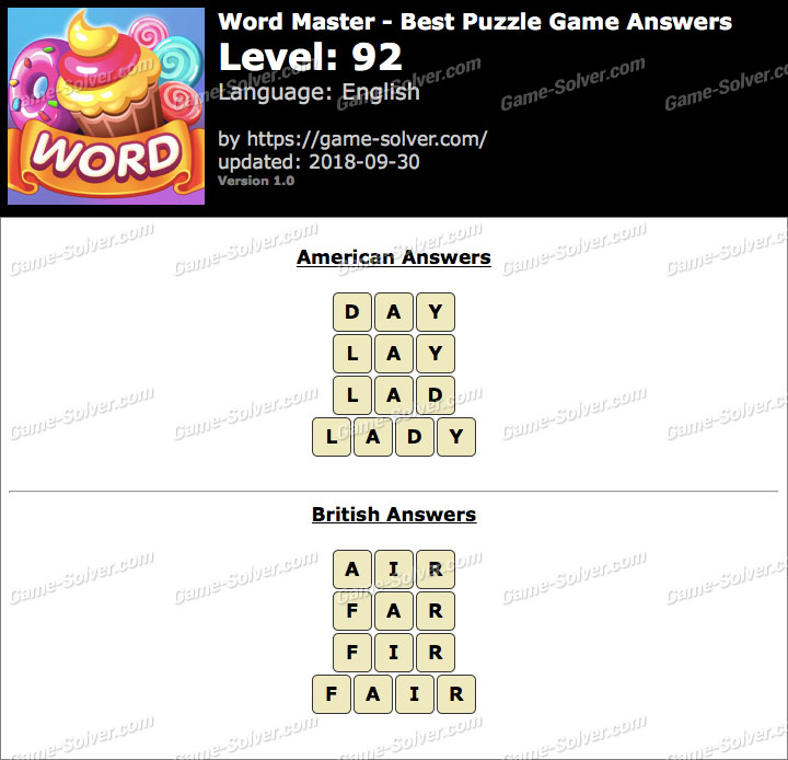 Word Master-Best Puzzle Game Level 92 Answers