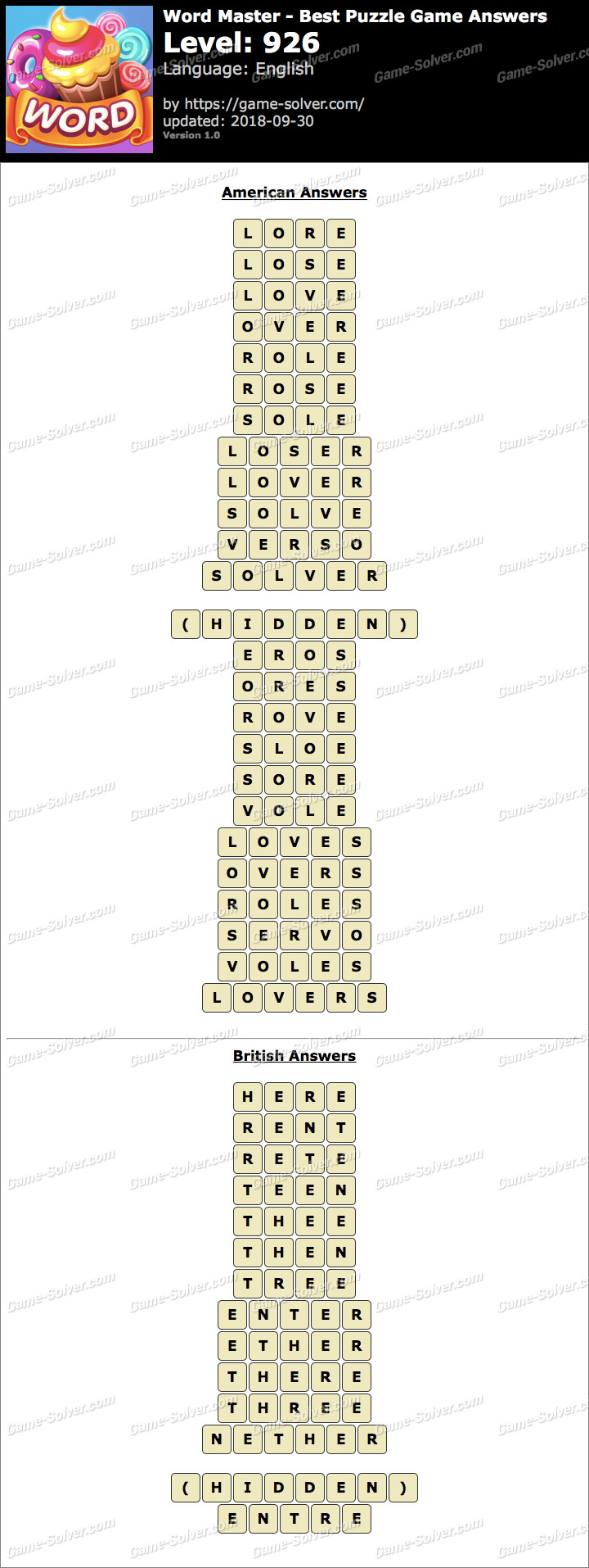 Word Master-Best Puzzle Game Level 926 Answers