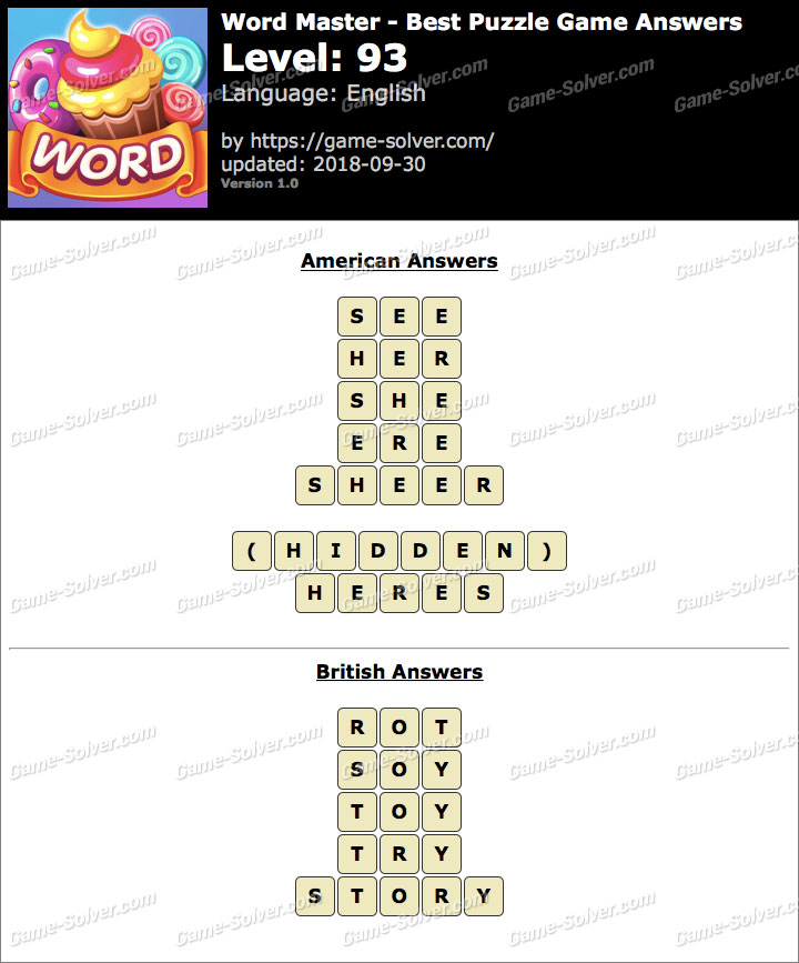 Word Master-Best Puzzle Game Level 93 Answers