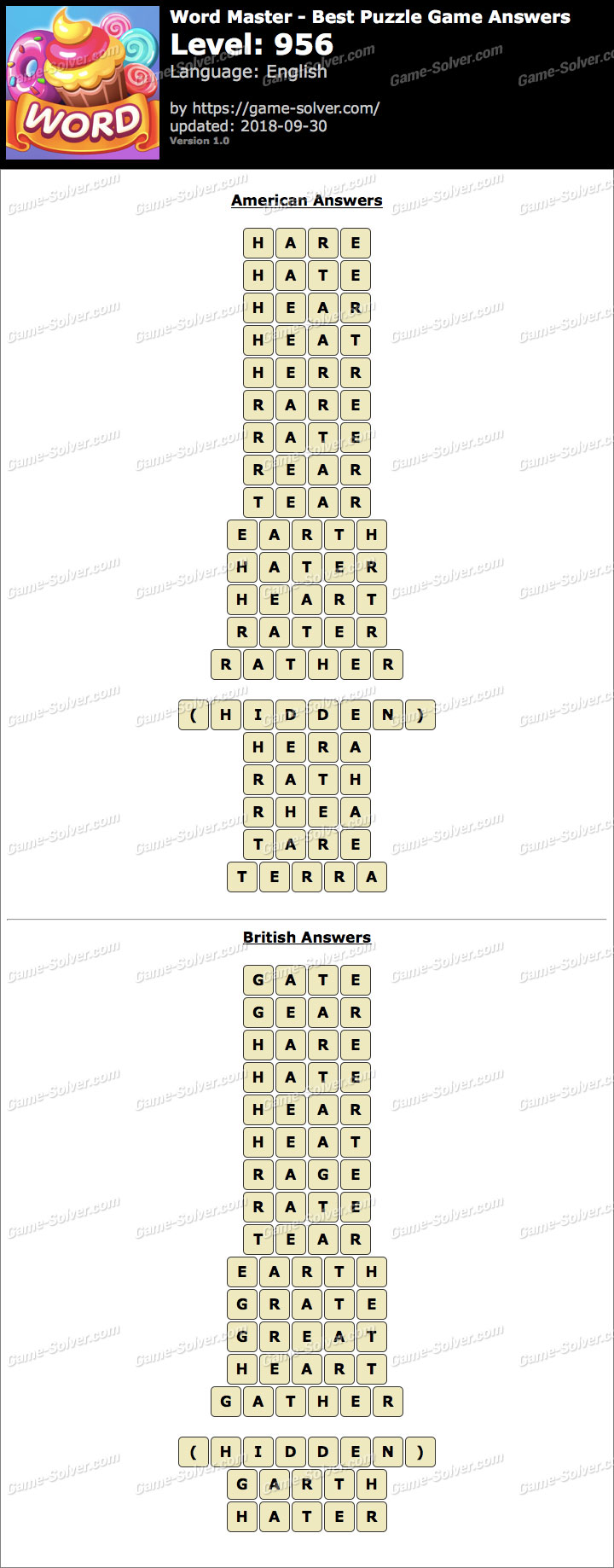 Word Master-Best Puzzle Game Level 956 Answers