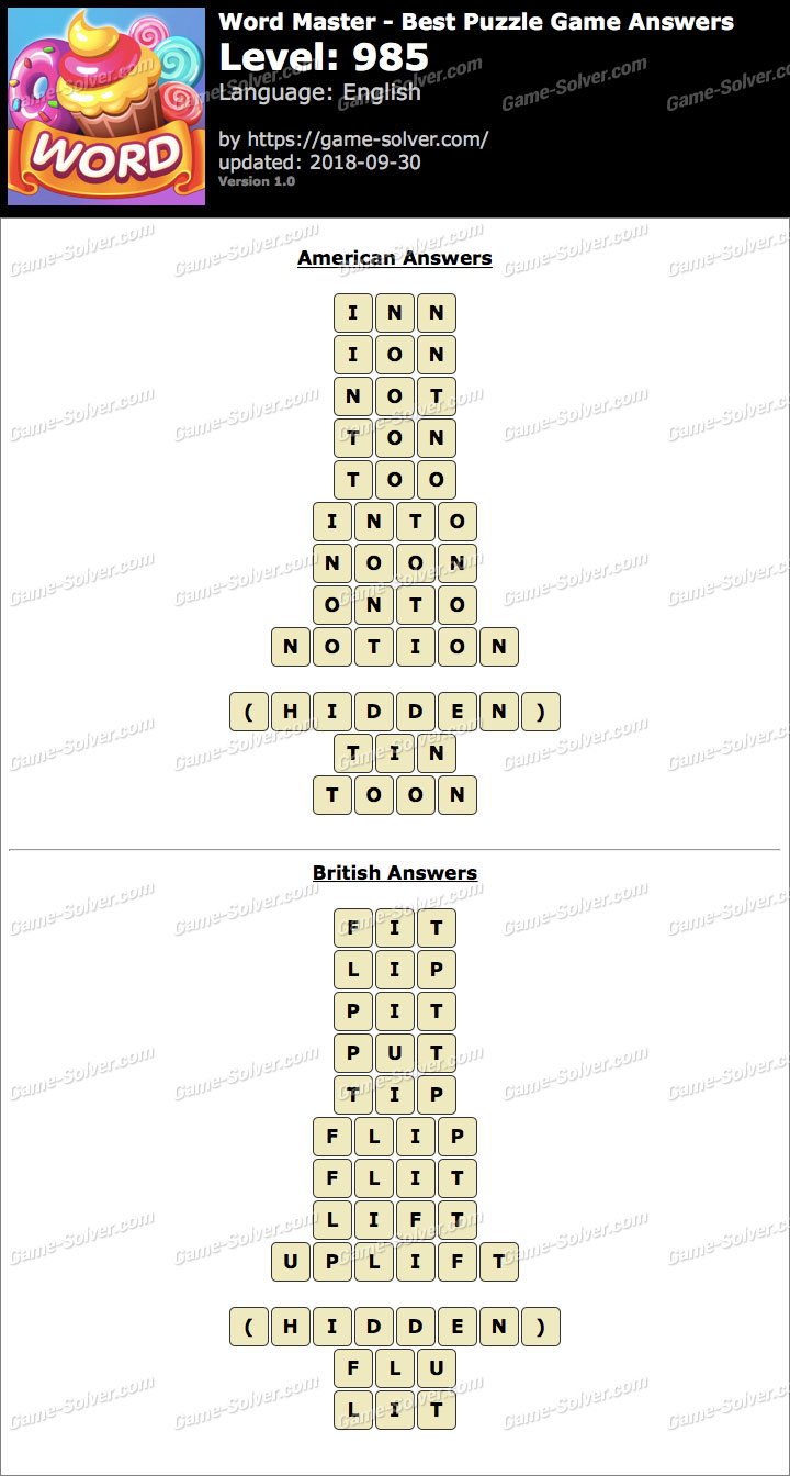 Word Master-Best Puzzle Game Level 985 Answers