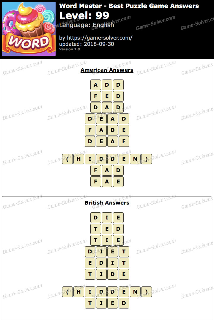 Word Master-Best Puzzle Game Level 99 Answers
