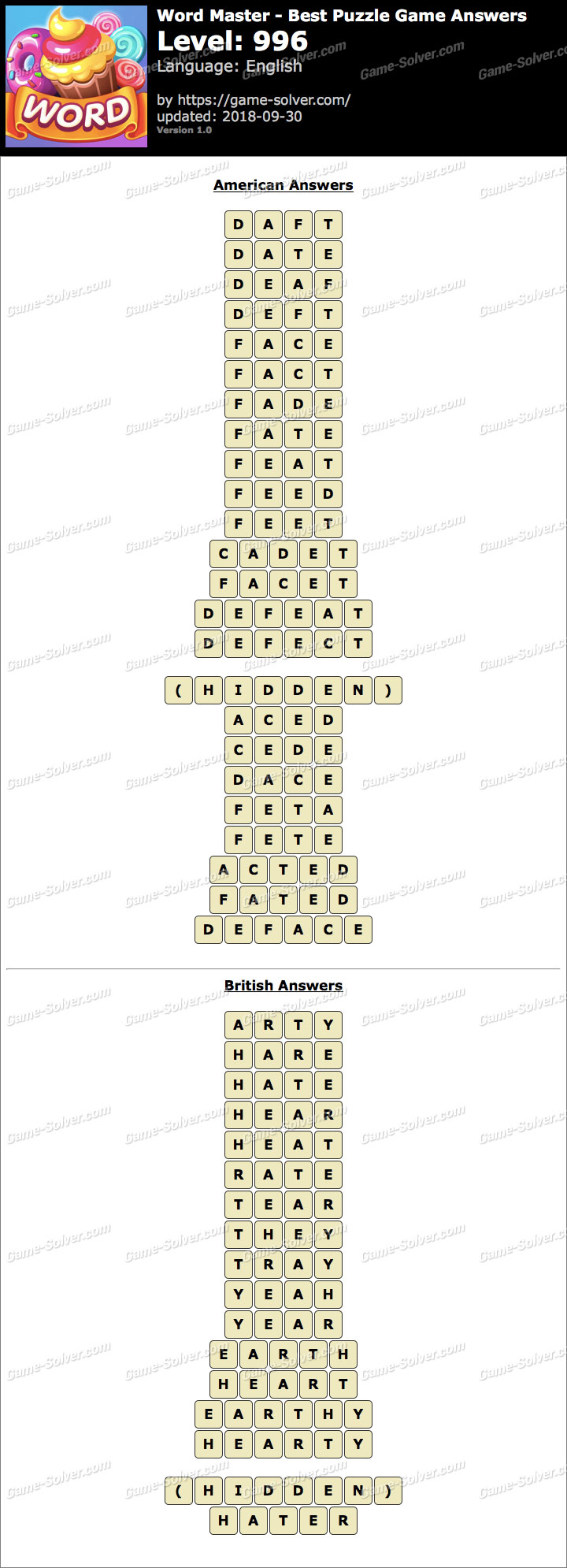 Word Master-Best Puzzle Game Level 996 Answers