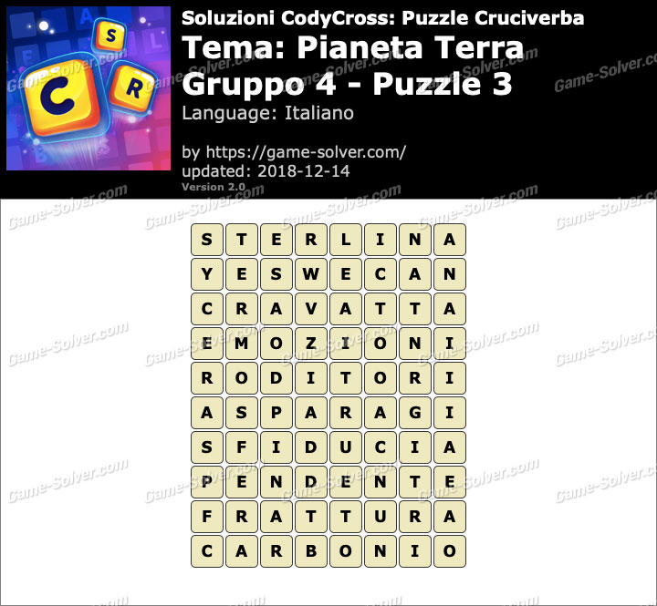 Soluzioni CodyCross Pianeta Terra Gruppo 4-Puzzle 3