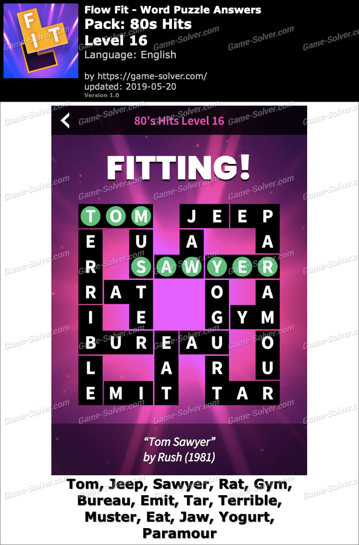 Flow Fit 80s Hits-Level 16 Answers