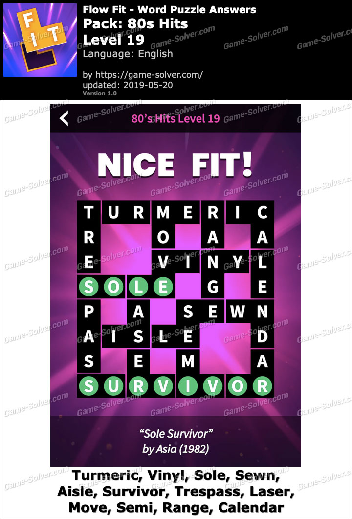 Flow Fit 80s Hits-Level 19 Answers