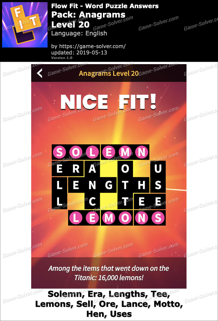 Flow Fit Anagrams-Level 20 Answers