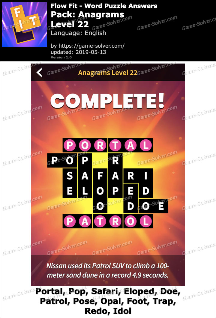 Flow Fit Anagrams-Level 22 Answers