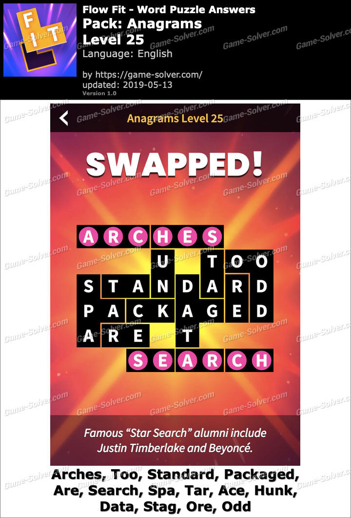 Flow Fit Anagrams-Level 25 Answers