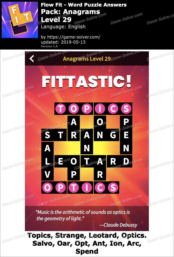 Flow Fit Anagrams-Level 29 Answers