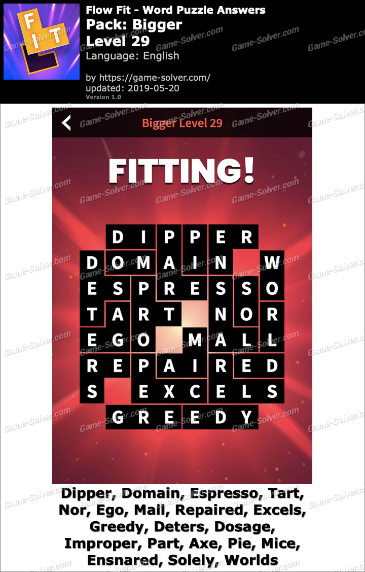 Flow Fit Bigger-Level 29 Answers