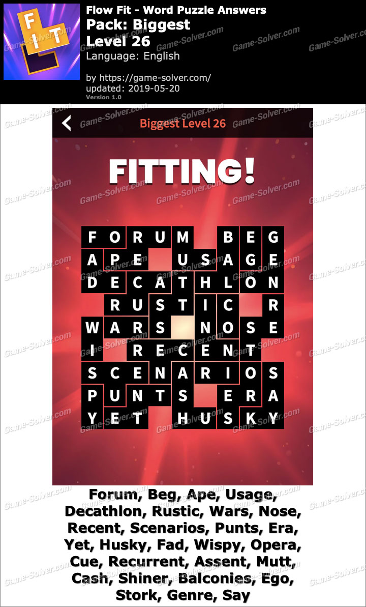 Flow Fit Biggest-Level 26 Answers
