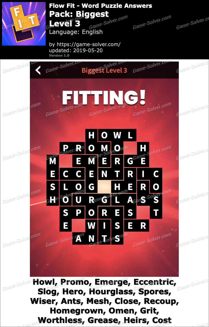 Flow Fit Biggest-Level 3 Answers