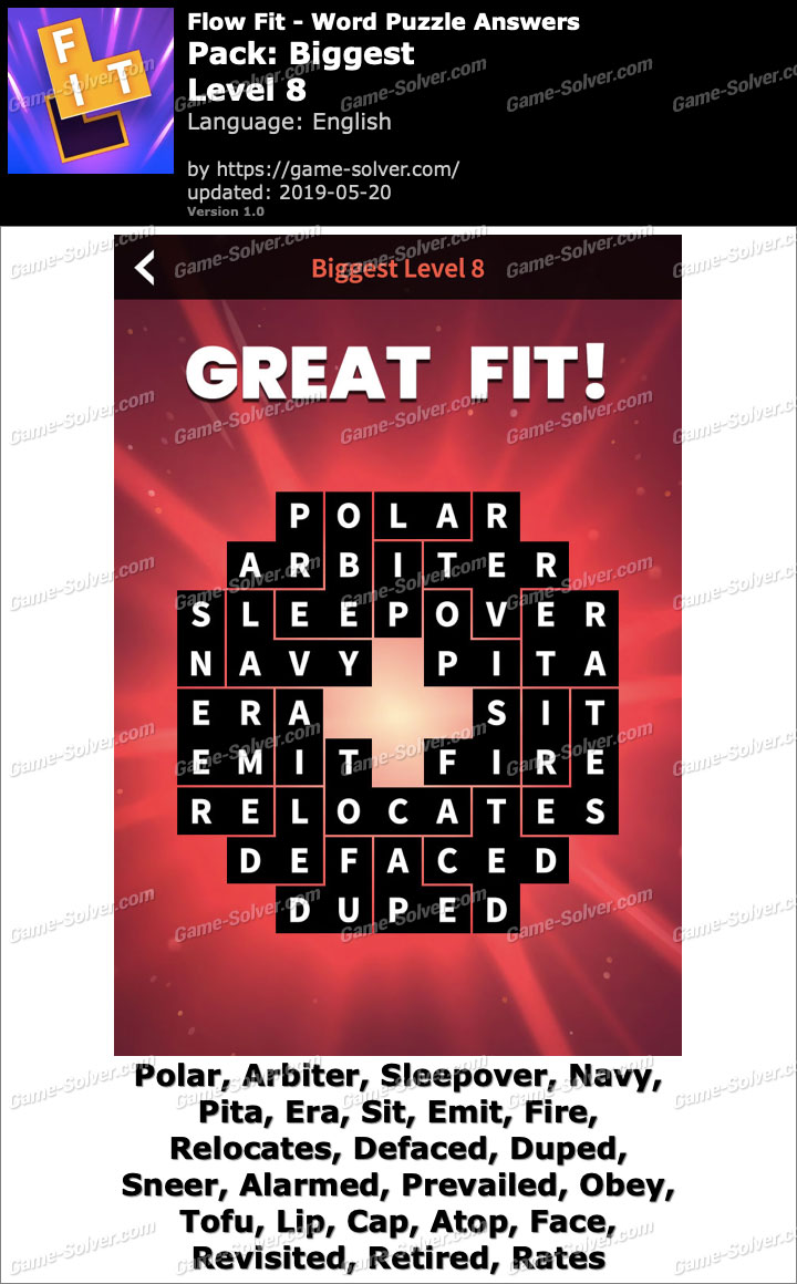 Flow Fit Biggest-Level 8 Answers