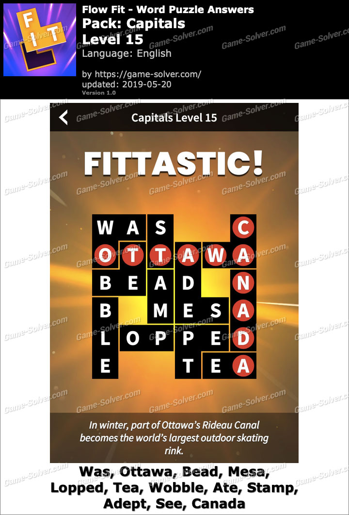 Flow Fit Capitals-Level 15 Answers