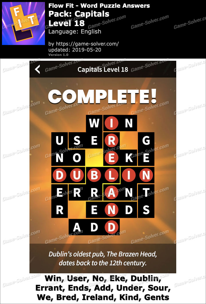 Flow Fit Capitals-Level 18 Answers