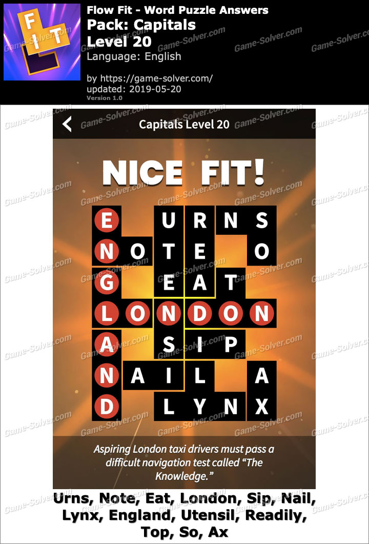 Flow Fit Capitals-Level 20 Answers
