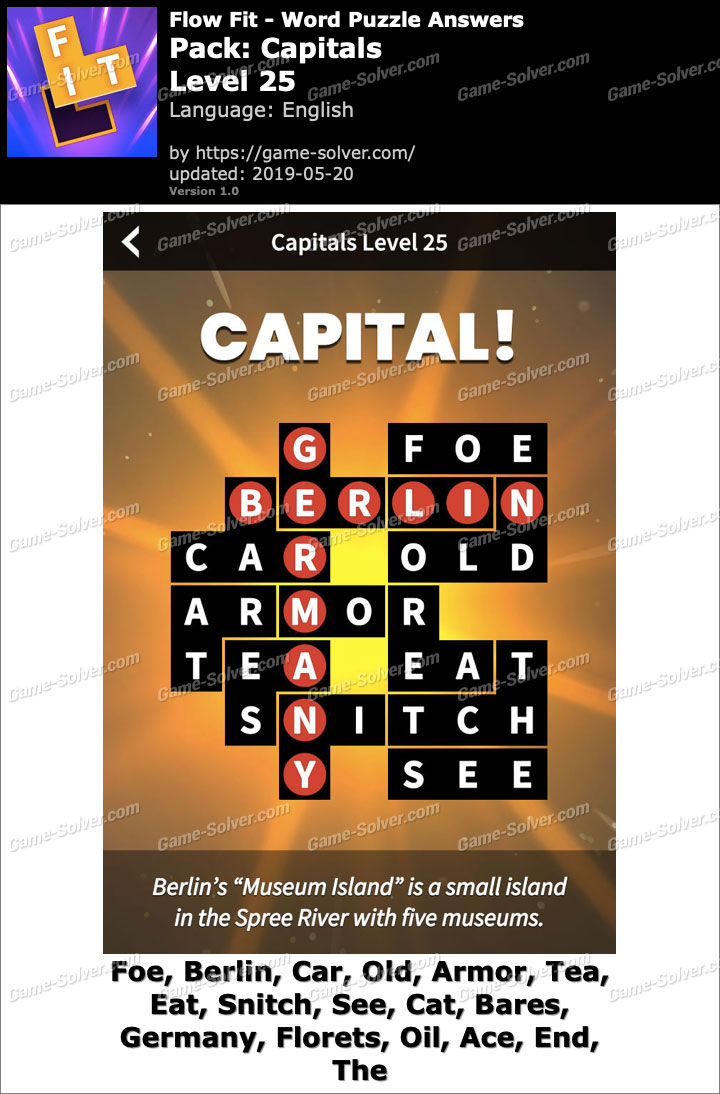 Flow Fit Capitals-Level 25 Answers