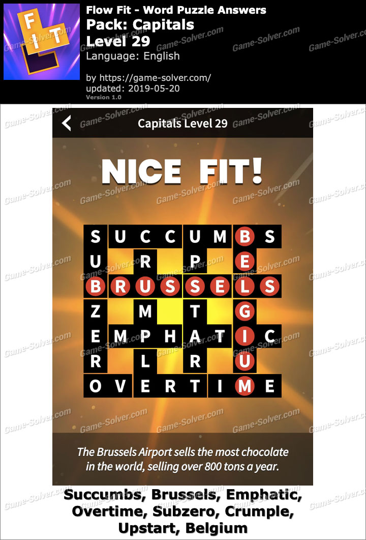 Flow Fit Capitals-Level 29 Answers