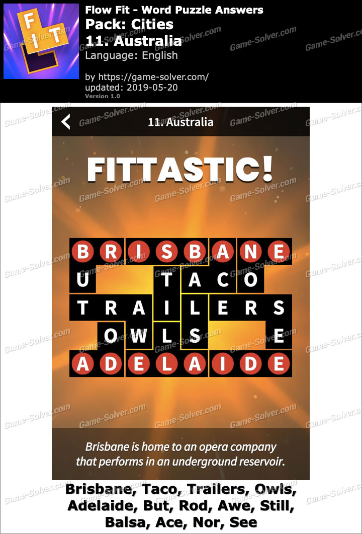 Flow Fit Cities-11 Australia Answers