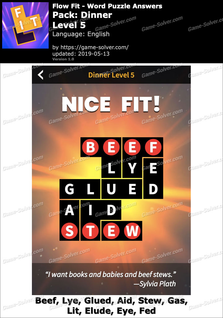 Flow Fit Dinner-Level 5 Answers