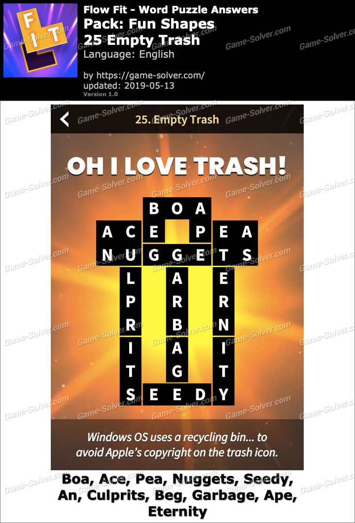 Flow Fit Fun Shapes-25 Empty Trash Answers