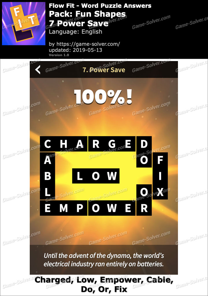 Flow Fit Fun Shapes-7 Power Save Answers