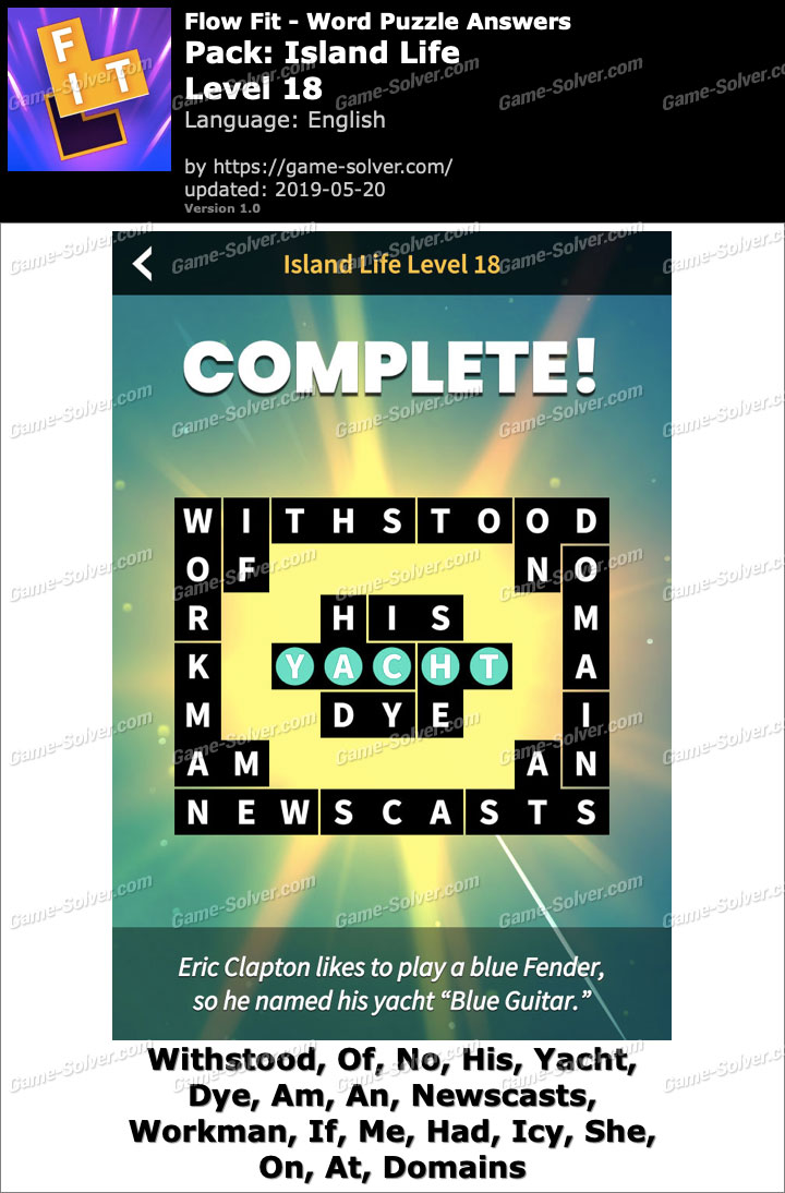 Flow Fit Island Life-Level 18 Answers